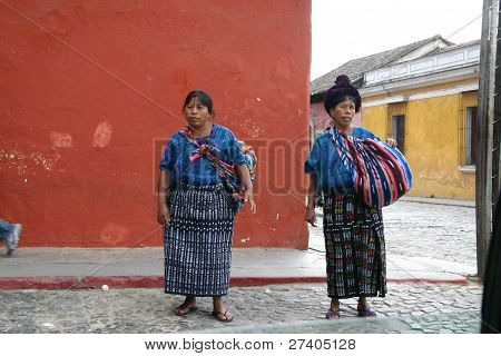 Mayan women at market in Antigua, Guatemala