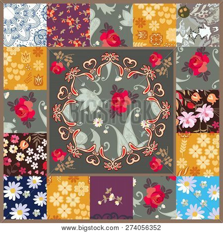 Patchwork Pattern With Stylized Mandala And Patchs With Various Flowers. Pillowcase, Scarf, Rug, Gre