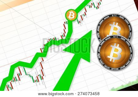 Bitcoin (btc) Index Rating Go Up On Exchange Market; Cryptocurrency Chart On Tablet Pc (smartphone)