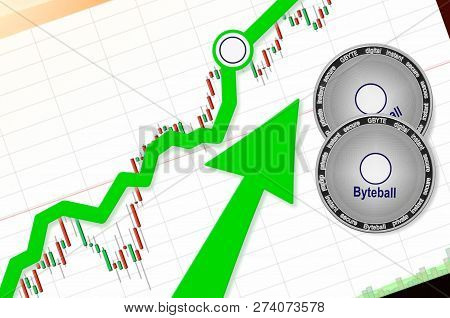 Byteball Bytes (gbyte) Index Rating Go Up On Exchange Market; Cryptocurrency Chart On Tablet Pc (sma