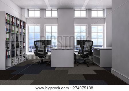 A modern, contemporary office with a large book shelf, city views and empty desks and chairs. 3d Rendering