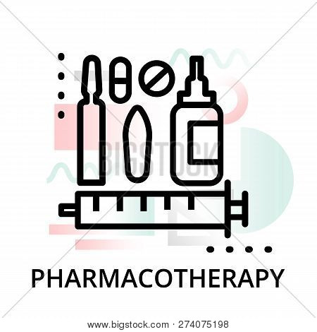 Modern Flat Editable Line Design Vector Illustration, Concept Of Pharmacotherapy Icon On Abstract Ba