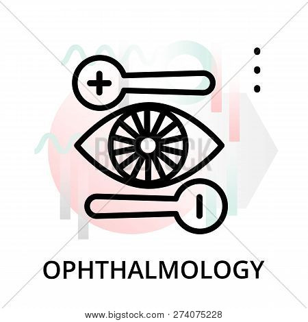 Modern Flat Editable Line Design Vector Illustration, Concept Of Ophthalmology Icon On Abstract Back