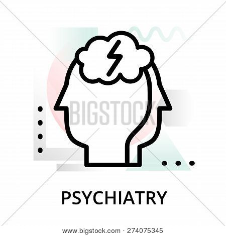 Modern Flat Editable Line Design Vector Illustration, Concept Of Psychiatry Icon On Abstract Backgro