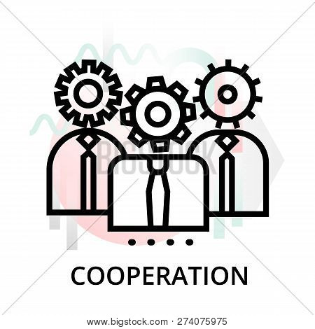 Cooperation Concept Icon On Abstract Background From Science Icons Set, For Graphic And Web Design,