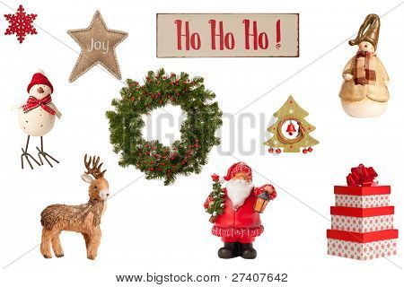 Collection of Christmas elements including gifts, festive wreath and vintage, ho ho ho sign all on a white background