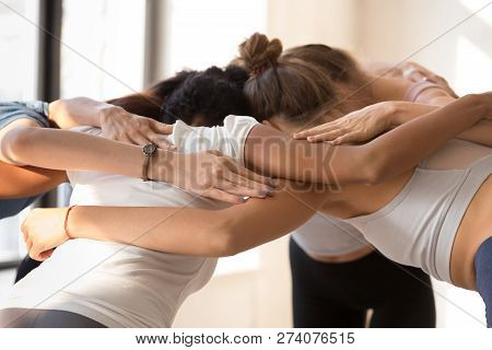 Group Of Women Standing Together Embracing Prepare For Competiti