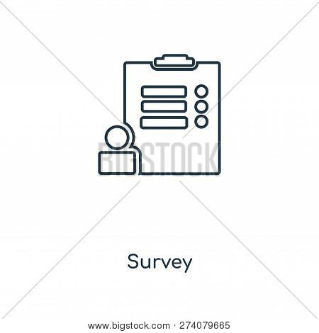 Survey Icon In Trendy Design Style. Survey Icon Isolated On White Background. Survey Vector Icon Sim
