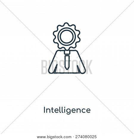 Intelligence Icon In Trendy Design Style. Intelligence Icon Isolated On White Background. Intelligen