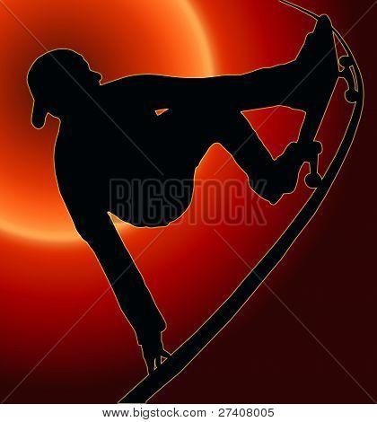 Sunset Back Skateboarding Vert Ramp Grab
