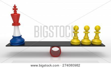 Chessmen On Scales. French Government And Yellow Jackets Facing. 3D Rendering