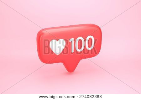 One Hundred Likes Social Media Notification With Heart Icon