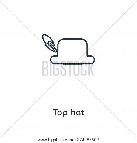 Top Hat Icon In Trendy Design Style. Top Hat Icon Isolated On White Background. Top Hat Vector Icon