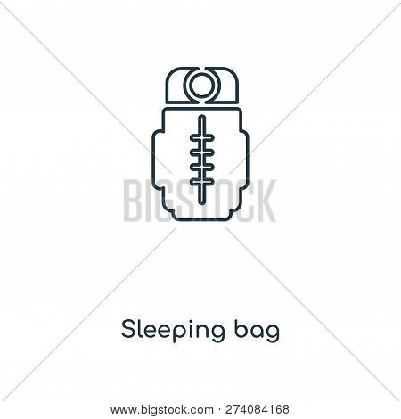 Sleeping Bag Icon In Trendy Design Style. Sleeping Bag Icon Isolated On White Background. Sleeping B