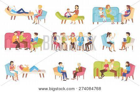 Psychotherapy People Talking About Problems With Doctor Vector. Family Problems Solving, Mother And