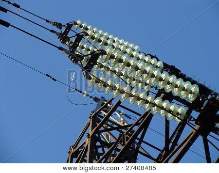 high-voltage line against sky