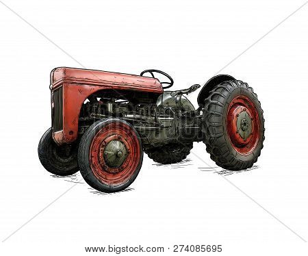 Old Vintage Red Tractor Illustration In Cartoon Or Comic Style. Tractor Was Made In Dearborn, Michig