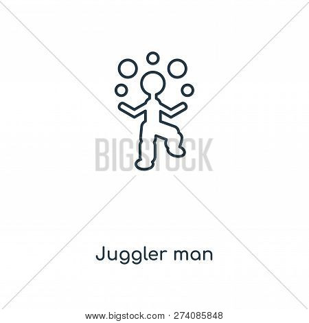 Juggler Man Icon In Trendy Design Style. Juggler Man Icon Isolated On White Background. Juggler Man