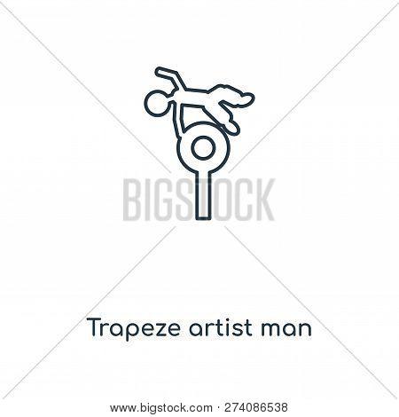 Trapeze Artist Man Icon In Trendy Design Style. Trapeze Artist Man Icon Isolated On White Background