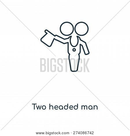 Two Headed Man Icon In Trendy Design Style. Two Headed Man Icon Isolated On White Background. Two He