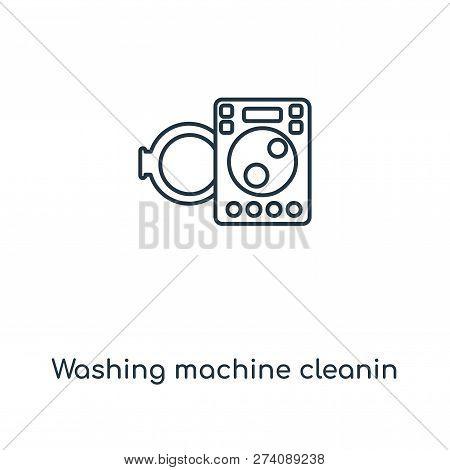 Washing Machine Cleanin Icon In Trendy Design Style. Washing Machine Cleanin Icon Isolated On White