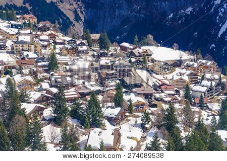 Murren Is A Switzerland Mountain Village At The Foot Of The Schilthorn Peak, And Is Accessible By Ca