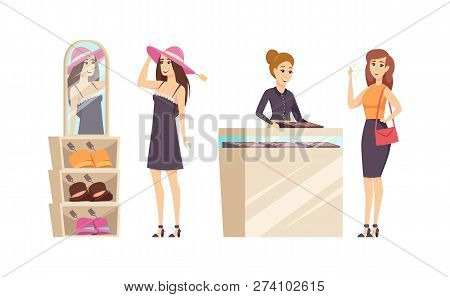 Female Trying Different Hats In Shop Set Vector. Jewelry Store With Consultant Advising To Buy Gold
