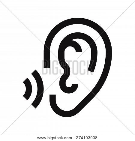 Ear Icon Isolated On White Background. Ear Icon In Trendy Design Style. Ear Vector Icon Modern And S