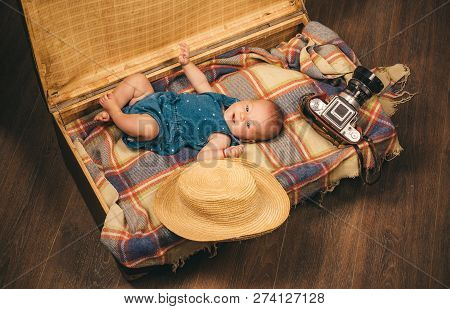 Gift For You. Family. Child Care. Small Girl In Suitcase. Traveling And Adventure. Sweet Little Baby