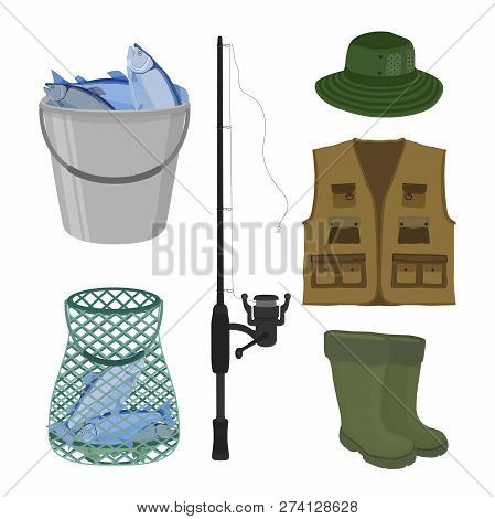 Vector Cartoon Collection For Fishing. Fish-rod, Rubber Waterproof Boots, Sweep-net And Bucket With