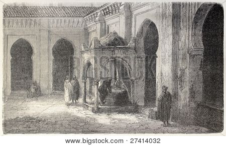 Ablution fountain in Grand Mosquee courtyard, Algiers. Created by Gaildrau, published on L'Illustration, Journal Universel, Paris, 1858