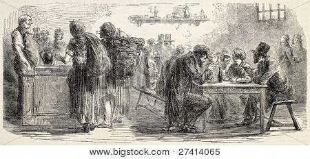 Ragmen in Paris, Cabaret Dupont, old illustration. Created by Lhernault, published on L'Illustration, Journal Universel, Paris, 1858