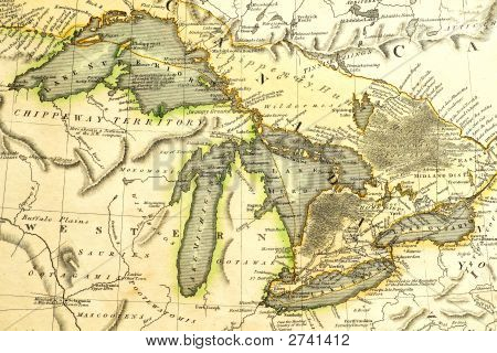 1795 Map Of The Great Lakes.