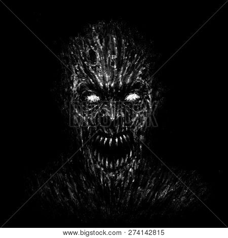 Angry Zombie Face On Black Background. Drawing Monster Character. Illustration In Horror Genre.