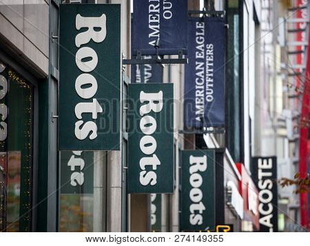 Montreal, Canada - November 5, 2018: Roots Canada Logo In Front Of Their Local Boutique In Montreal.