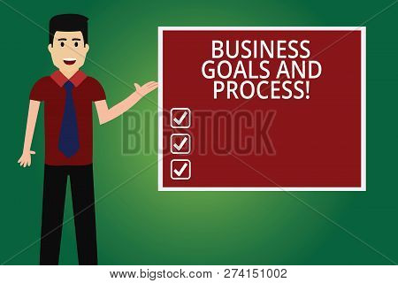 Word writing text Business Goals And Process. Business concept for Working strategies accomplish objectives Man with Tie Standing Talking Presenting Blank Color Square Board photo. poster