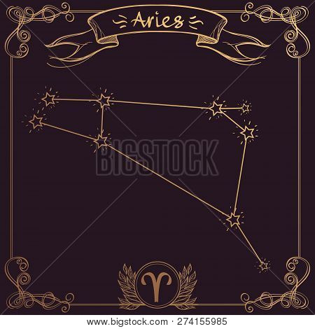 Aries constellation. Schematic representation of the signs of the zodiac. poster