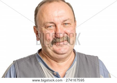 Adult Man With A Mustache Laughing, Isolated On White Background