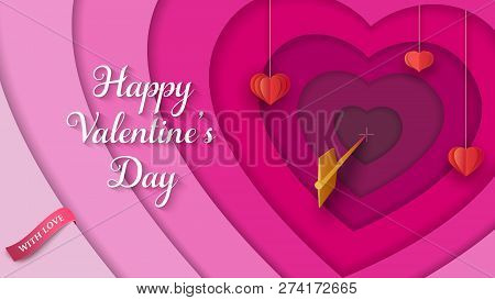 Layered 3D Colorful Background With Hanging Paper Red Hearts, Golden Arrow, Pink Ribbon. Valentine's