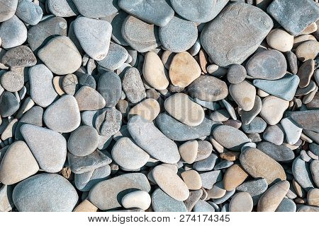 Background With Round Peeble Stones Close Up