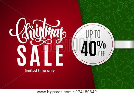 Christmas Holiday Sale 40 Percent Off With Paper Sticker On Background With Icons. Limited Time Only