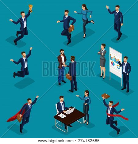 Isometric Cartoon People, 3d Businessmen, A Set Of Concepts With A Businessman And Business Lady, Jo