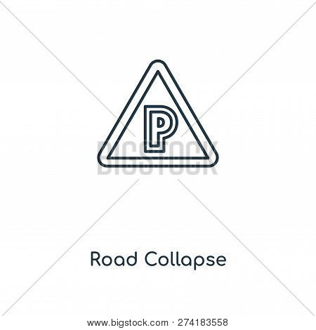 Road Collapse Icon In Trendy Design Style. Road Collapse Icon Isolated On White Background. Road Col