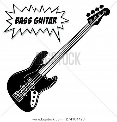 Bass Guitar 4 Strings. Vector Black And White Illustration Isolated On White Background.