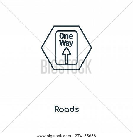 Roads Icon In Trendy Design Style. Roads Icon Isolated On White Background. Roads Vector Icon Simple