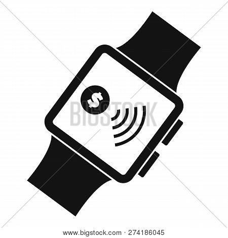 Smartwatch Nfc Pay Icon. Simple Illustration Of Smartwatch Nfc Pay Vector Icon For Web Design Isolat