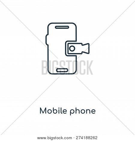 Mobile Phone Icon In Trendy Design Style. Mobile Phone Icon Isolated On White Background. Mobile Pho