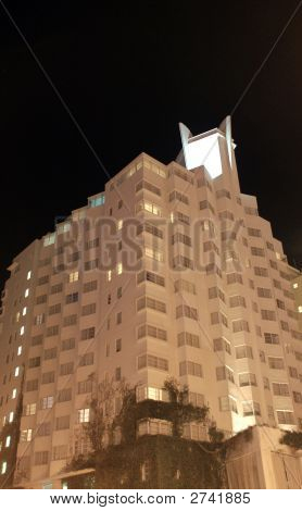 Night View Of Art Deco Hotel In South Beach