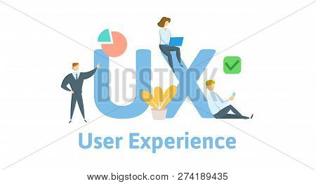 Ux, User Experience, User Interface. Concept With Keywords, Letters, And Icons. Flat Vector Illustra