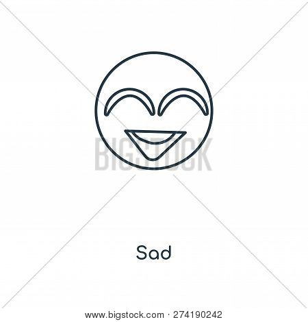 Sad Icon In Trendy Design Style. Sad Icon Isolated On White Background. Sad Vector Icon Simple And M